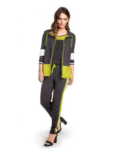 Doris Streich Plus Size Black Lime Striped Pant 824-116-20