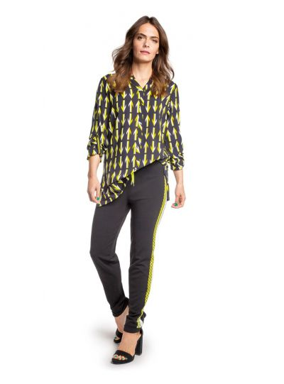 Doris Streich Plus Size Black Lime Printed Blouse 211-118-20
