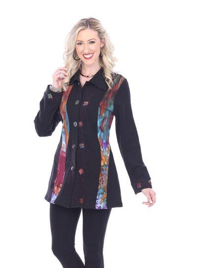 Parsley & Sage Plus Size Black/Multi Button Front Sweatshirt 18W205E31