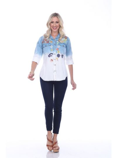 Parsley & Sage Plus Size White/Blue Floral Kitty Shirt 19S449G