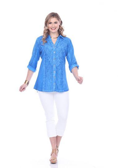 Parsley & Sage Plus Size Cobalt Cynthia Button Shirt 19T47G1