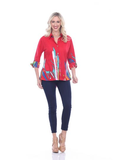 Parsley & Sage Plus Size Red Chelsea Shirt 19T50G