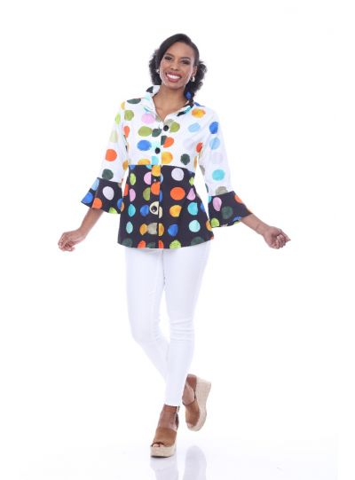 Parsley & Sage Plus Size Multi Polka Dot Sally Jacket 19T74E26