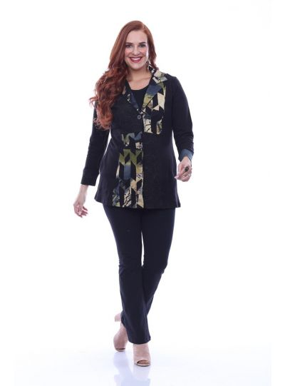 Parsley & Sage Plus Size Black/Tan Button Jacket 19W211E31