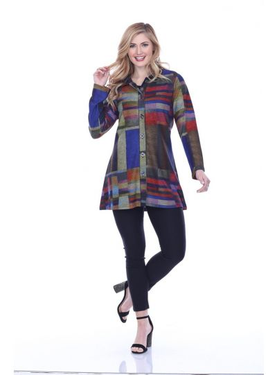 Parsley & Sage Plus Size Multi Greta Long Shirt 19W253G1P