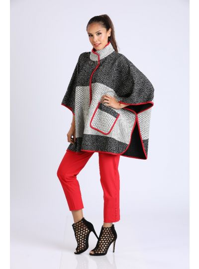 IC Collection Multi Textured Poncho 2059PC