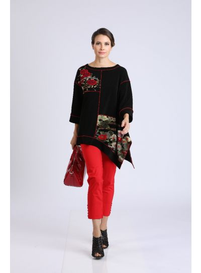 IC Collection Black/Red Trimmed Floral Pullover Tunic 2077T