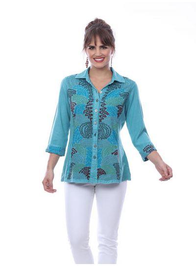 Parsley & Sage Plus Size Teal Ellen Shirt 20S441G