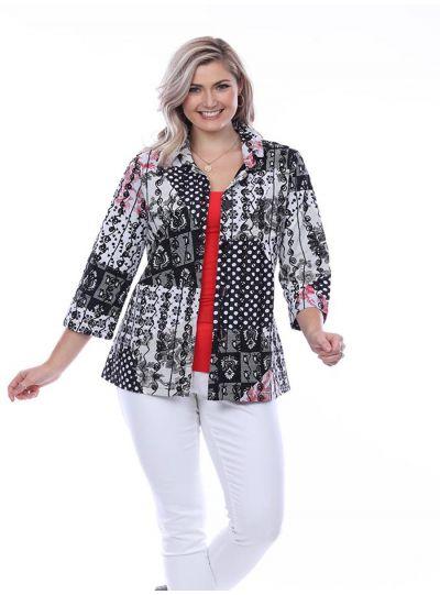Parsley & Sage Plus Size Black/White Floral Jacket 20S445E28