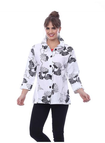 Parsley & Sage Plus Size White/Floral Poleen Jacket 20S450E