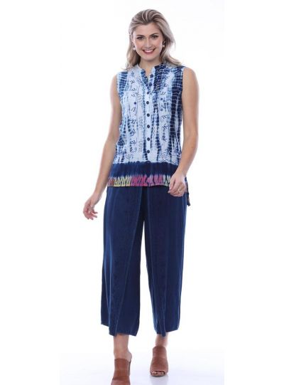 Parsley & Sage Plus Size Indigo Embroidered Slit Pant 20S480L