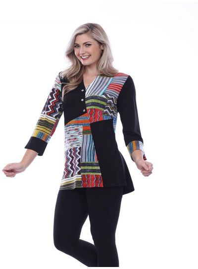 Parsley & Sage Plus Size Black/Multi Button Tunic 20T03T20