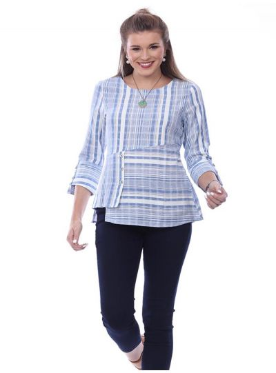 Parsley & Sage Plus Size Blue Striped Paige Top 20T10C4