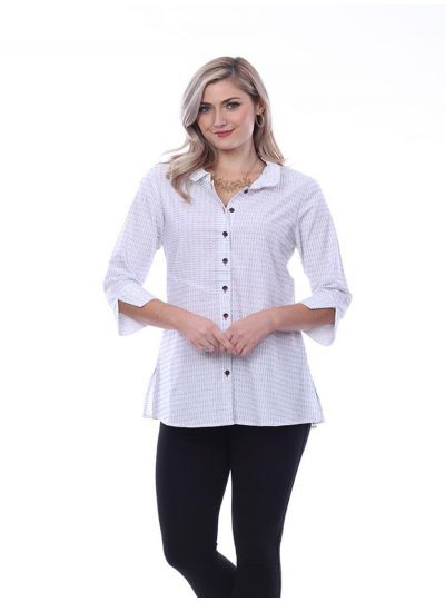 Parsley & Sage Plus Size White/Black Striped Trudy Button Back Shirt 20T15G10