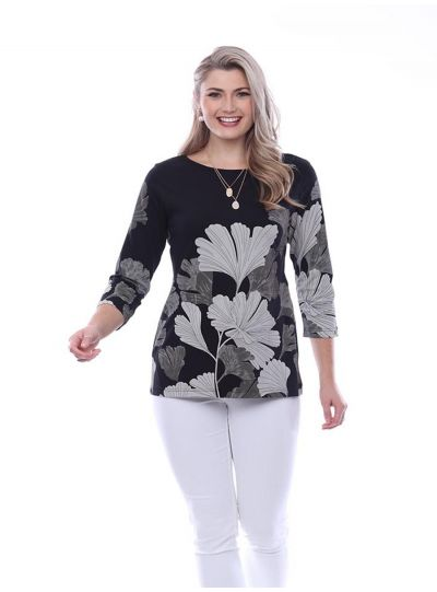 Parsley & Sage Plus Size Black/Tan Leaf Top 20T70C2