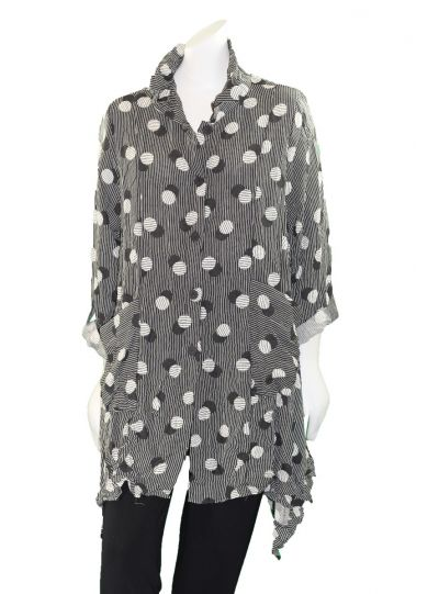 Moonlight Black/White Shadow Dot 2 Pocket Shirt 2717POK