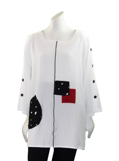 Moonlight White Patchwork Pullover Tunic 2758