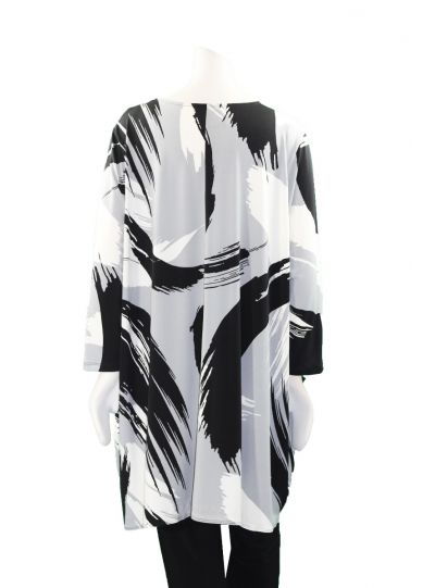Comfy Plus Size Metal Brush Stroke Print Long 2 Pocket Tunic SK520