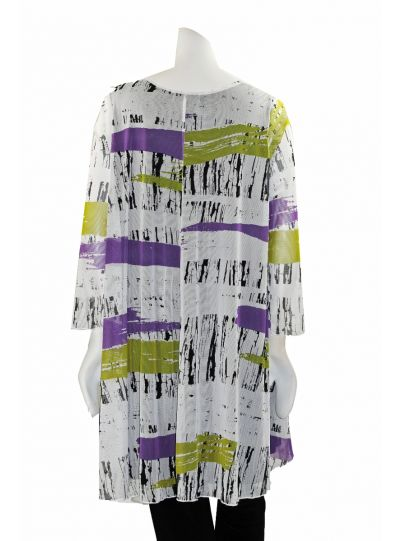 Comfy Plus Size White/Black/Purple Multi Printed Sheer Tunic ES1142