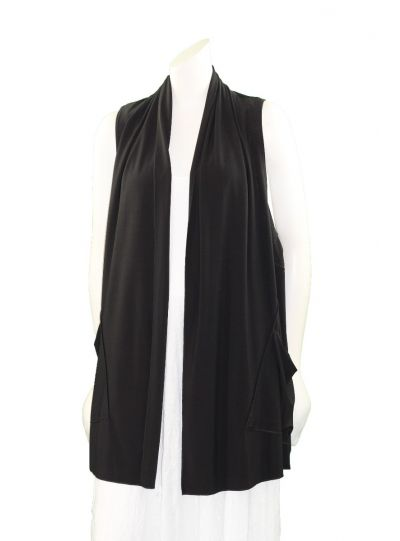 Comfy Plus Size Black Open Front Vest SK516