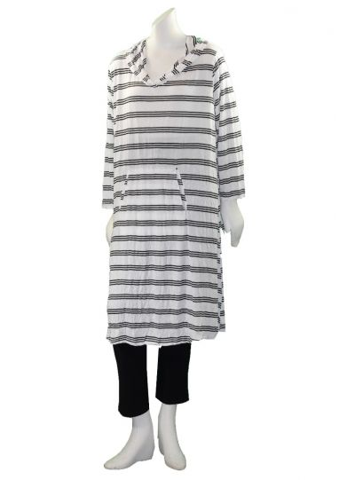 Comfy Plus Size White/Black Striped Hooded Tunic C336