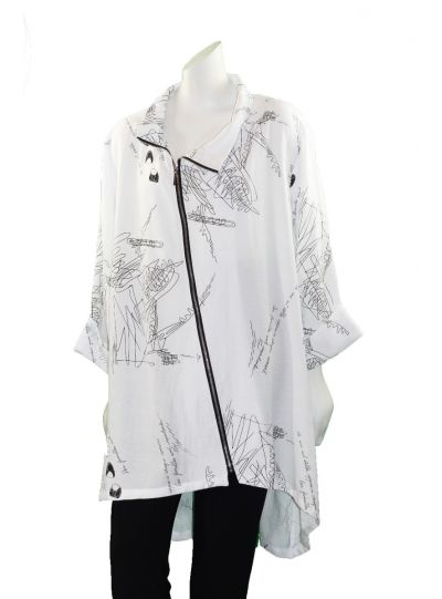 Comfy Plus Size White Printed High Low Zipper Front Jacket RN105