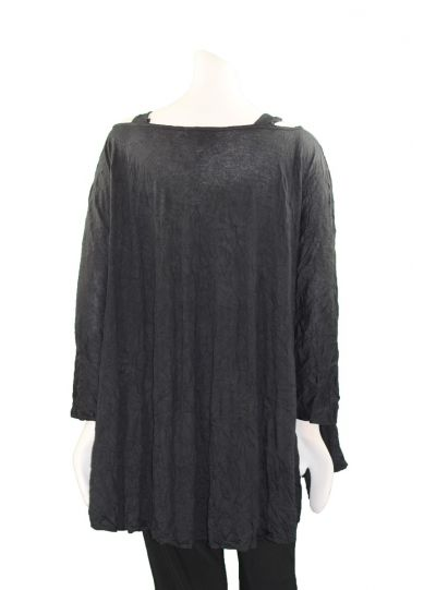Comfy Plus Size Black Crinkle Cold Shoulder Tunic C638