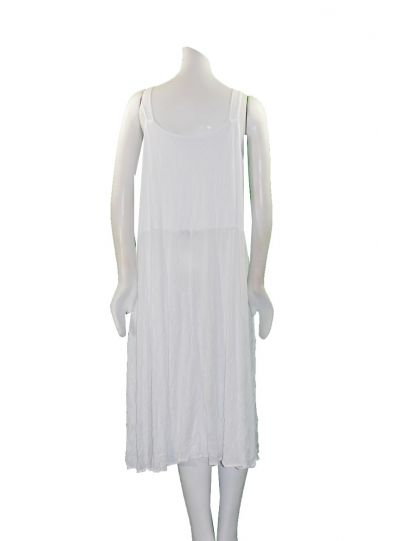 Comfy Plus Size White Crinkle Sleeveless Dress C334