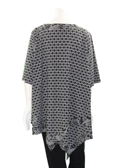 Prisa Grey/Black Polka Dot Asym Hem Tunic 3300C