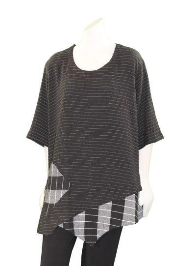 Prisa Black Striped/Plaid Pullover One Pocket Tunic 3329C