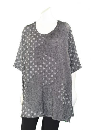 Prisa Grey Square Polka Dot One Pocket Tunic 3361C