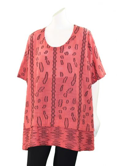 Prisa Pink Crinkle/Printed Pullover Tunic 3381C