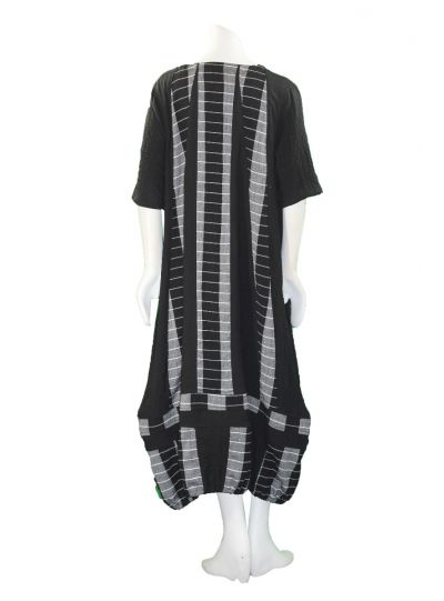 Prisa Black/Grey Striped Pullover Pocket Dress 3385C