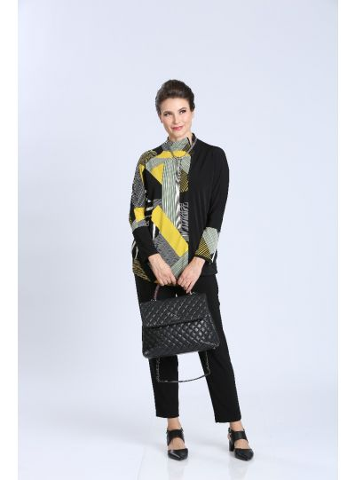 IC Collection Black/Yellow Pullover Style Zipper Tunic 3573T