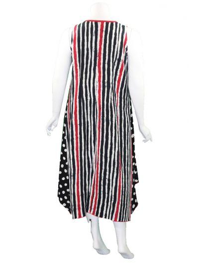 Lyng Designs Plus Size Black/White/Red Striped Dress 4052