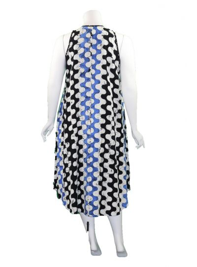 Lyng Designs Plus Size Black/White/Peri Swing Dress 4063