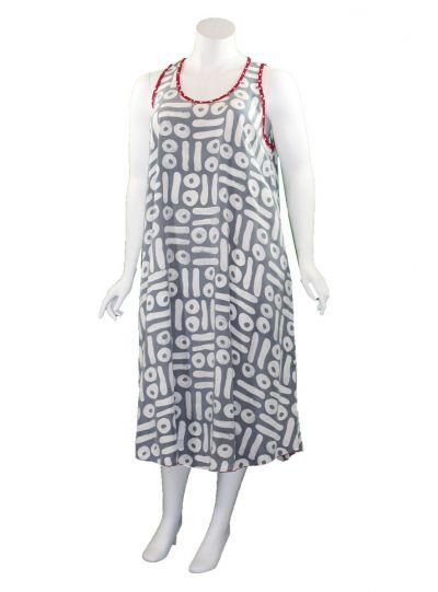 Lyng Designs Plus Size Grey/White/Red Swing Dress 4063