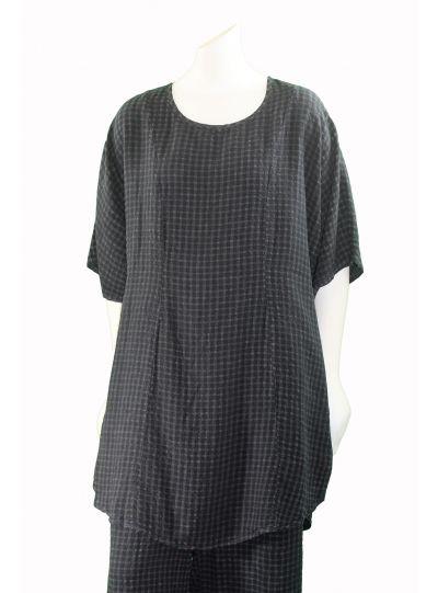 Khangura Plus Size Graphite/Slate Front Panel Long Tunic 42933W