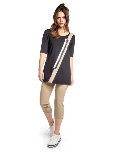 Doris Streich Plus Size Black Zipper Tunic 483-270-82