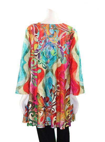 Amma Plus Size Naaz Printed Pullover Tunic 591NJ