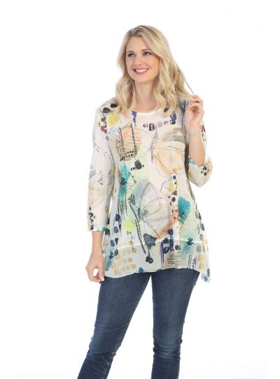 Jess & Jane Plus Size Multi Mariposa Tunic 63-1477X
