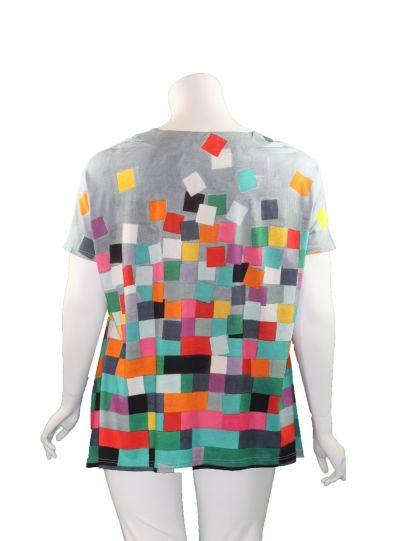 Ralston Multi Square Colored Linet Top 63518
