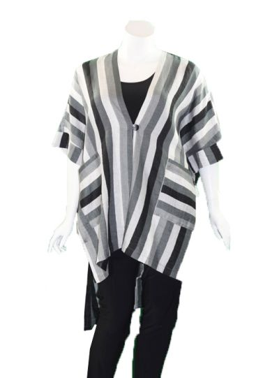 Ralston Grey/White/Black Striped Asat Duster 76654