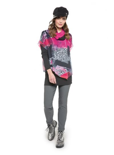 Doris Streich Plus Size Multi Colored 2 Layered Blouse 464-512-43
