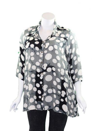 Lyng Designs Plus Size Grey/White/Black Polka Dot Shirt 7024