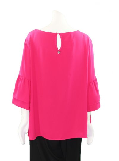 Mat Fashion Plus Size Fuchsia Ruffle Sleeve Blouse 711.1054