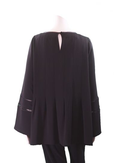 Q'Neel Black Plus Size Pleated Pullover Blouse 8287-8542