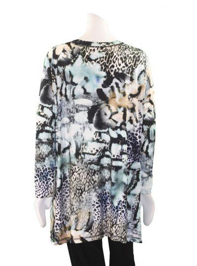 Q'Neel Blue Print Plus Size V-Neckline Tunic 83122-8399