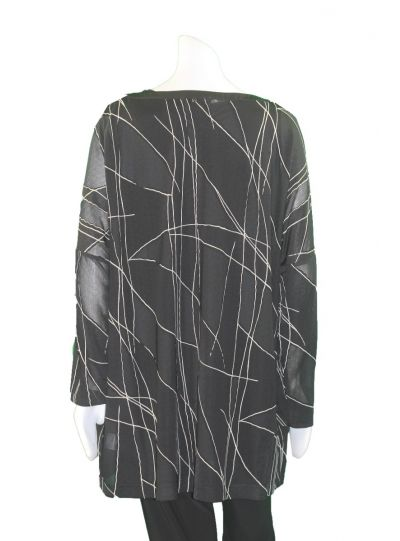 Q'Neel Black/Cream Plus Size Sheer Panel Tunic 83125-8392
