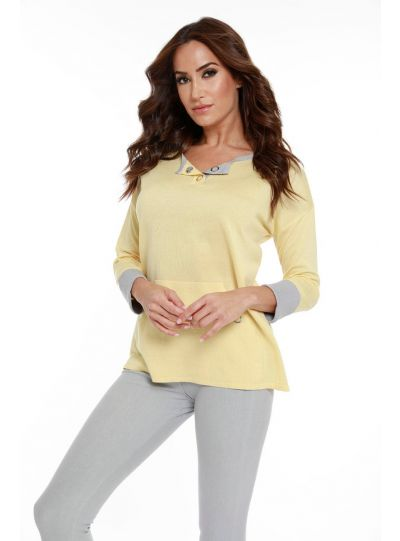 Angel Plus Size Yellow Pullover Sweater 8732